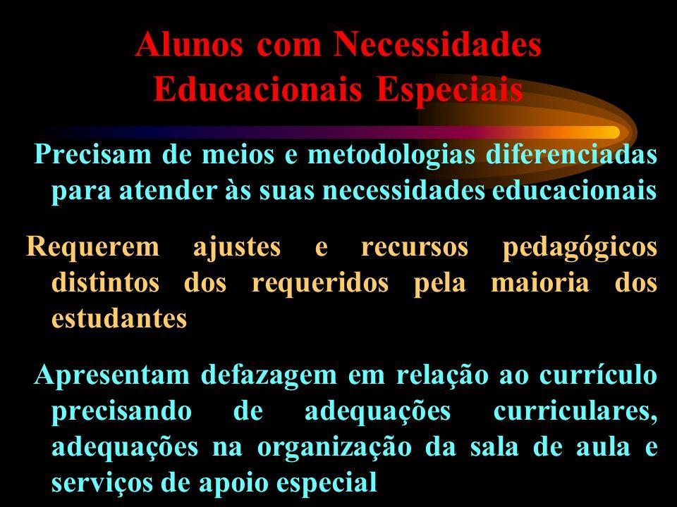 Alunos com Necessidades Educacionais Especiais Precisam de meios e metodologias diferenciadas para atender às suas necessidades educacionais Requerem