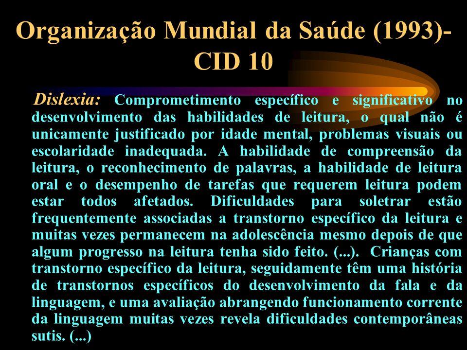 Organização Mundial da Saúde (1993)- CID 10 Dislexia: Comprometimento específico e significativo no desenvolvimento das habilidades de leitura, o qual