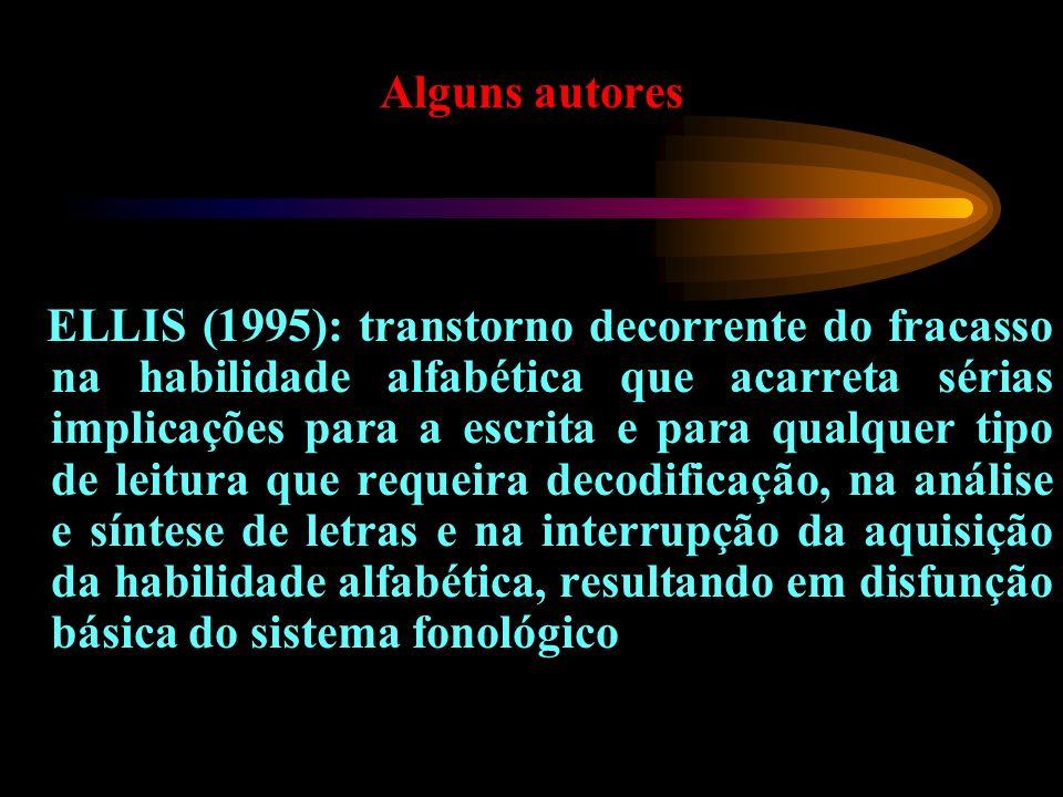 Alguns autores ELLIS (1995): transtorno decorrente do fracasso na habilidade alfabética que acarreta sérias implicações para a escrita e para qualquer