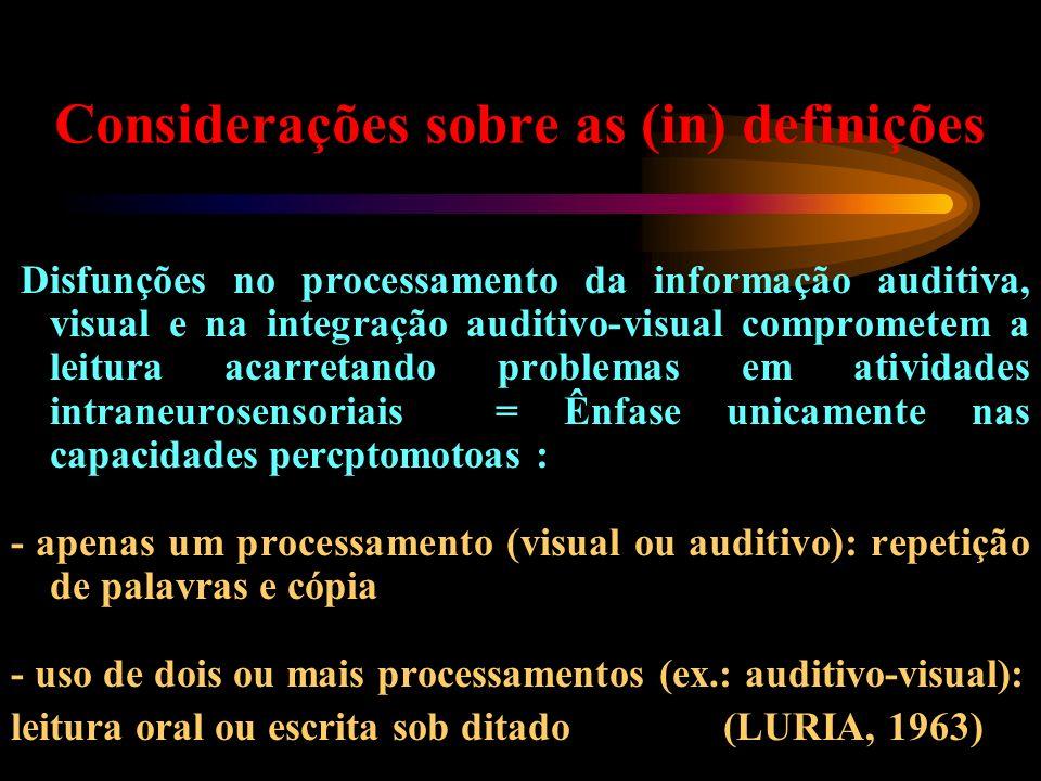 Considerações sobre as (in) definições Disfunções no processamento da informação auditiva, visual e na integração auditivo-visual comprometem a leitur