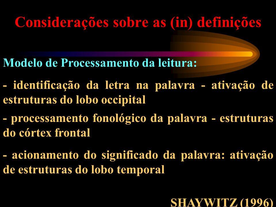 Considerações sobre as (in) definições Modelo de Processamento da leitura: - identificação da letra na palavra - ativação de estruturas do lobo occipi