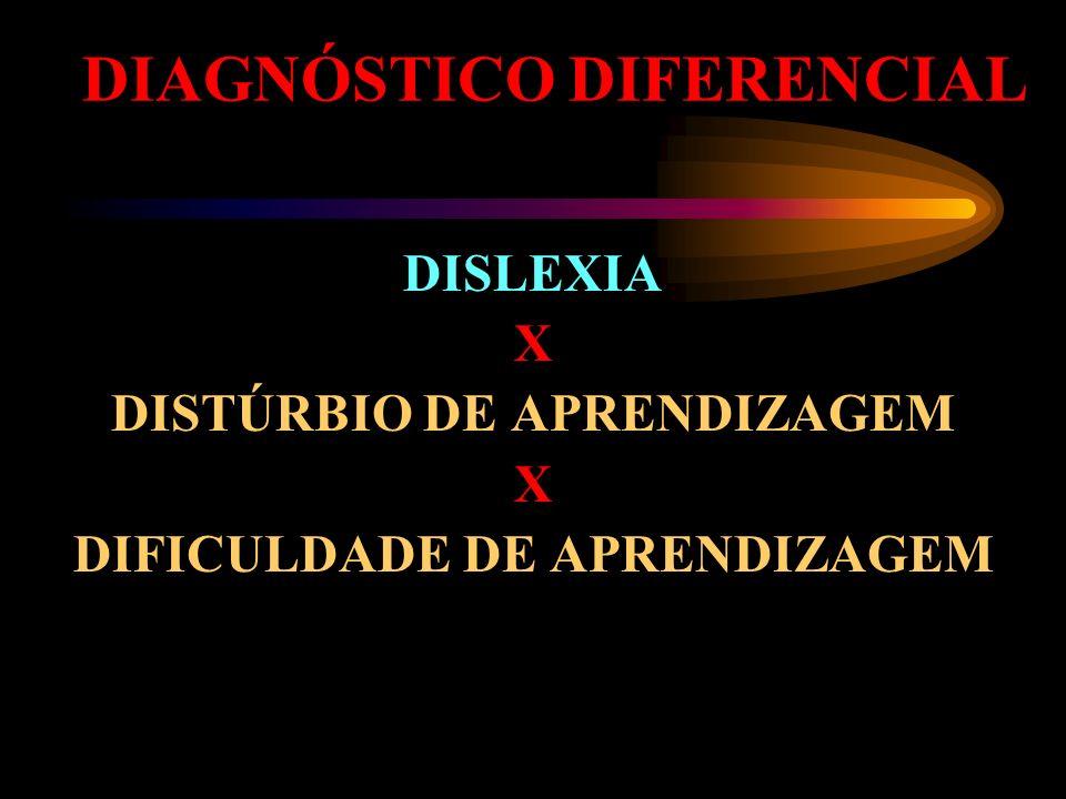 DIAGNÓSTICO DIFERENCIAL DISLEXIA X DISTÚRBIO DE APRENDIZAGEM X DIFICULDADE DE APRENDIZAGEM