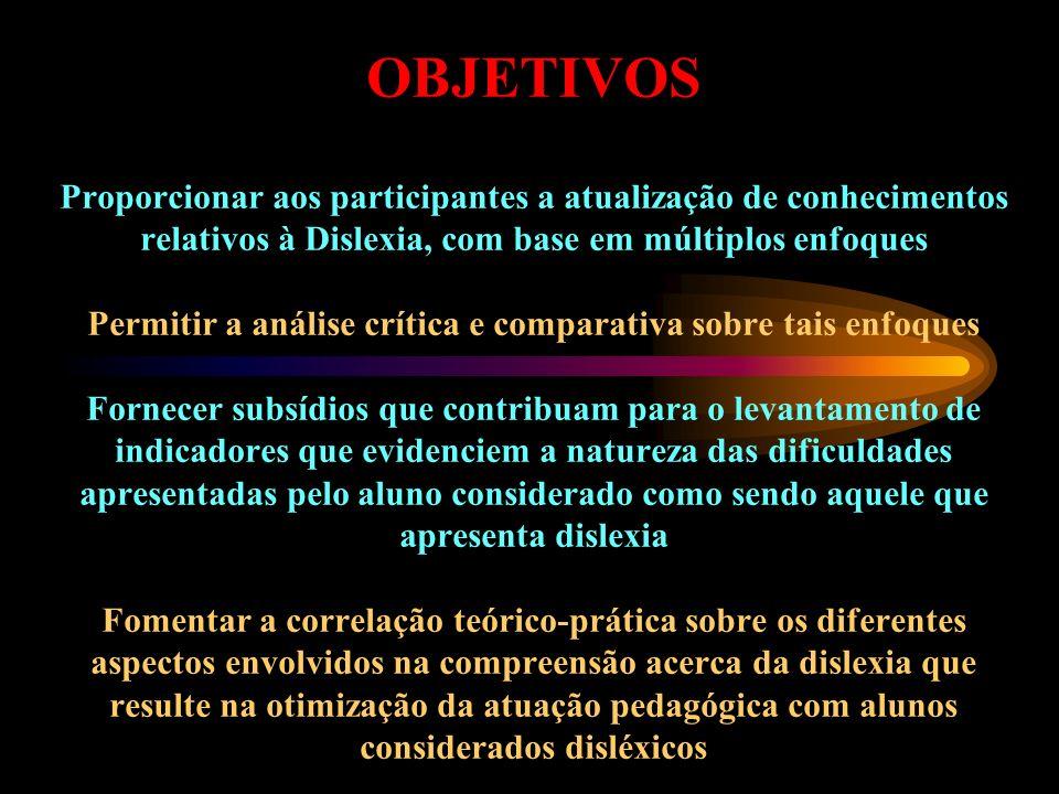 OBJETIVOS Proporcionar aos participantes a atualização de conhecimentos relativos à Dislexia, com base em múltiplos enfoques Permitir a análise crític