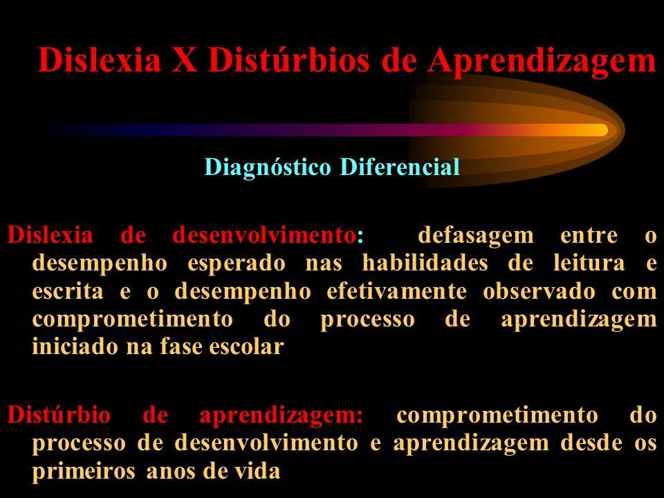 Dislexia X Distúrbios de Aprendizagem Diagnóstico Diferencial Dislexia de desenvolvimento: defasagem entre o desempenho esperado nas habilidades de le