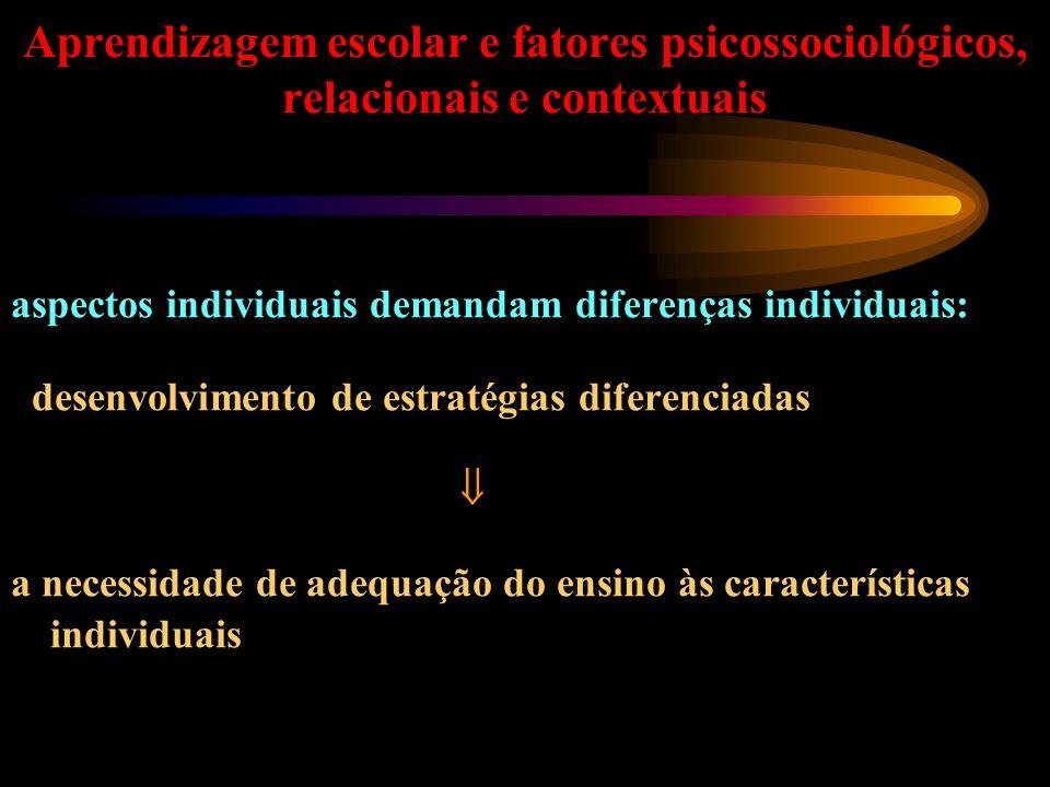 Aprendizagem escolar e fatores psicossociológicos, relacionais e contextuais aspectos individuais demandam diferenças individuais: desenvolvimento de