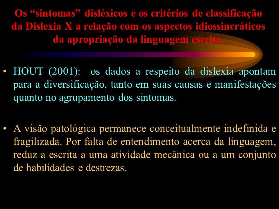 Os sintomas disléxicos e os critérios de classificação da Dislexia X a relação com os aspectos idiossincráticos da apropriação da linguagem escrita. H
