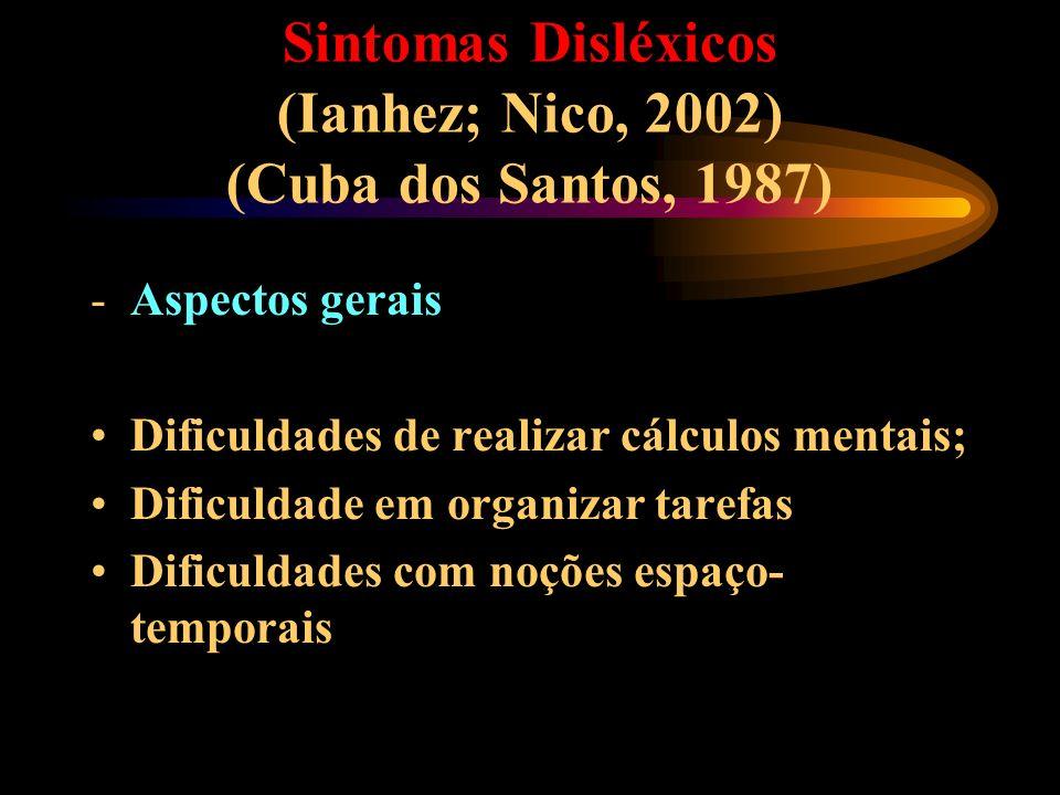 Sintomas Disléxicos (Ianhez; Nico, 2002) (Cuba dos Santos, 1987) -Aspectos gerais Dificuldades de realizar cálculos mentais; Dificuldade em organizar