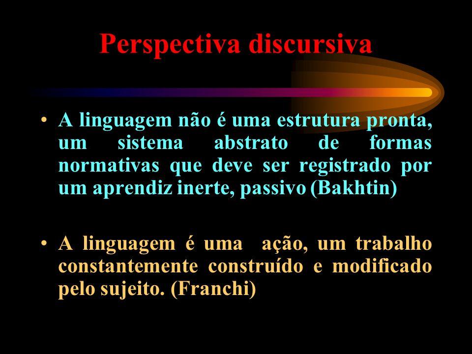 Perspectiva discursiva A linguagem não é uma estrutura pronta, um sistema abstrato de formas normativas que deve ser registrado por um aprendiz inerte