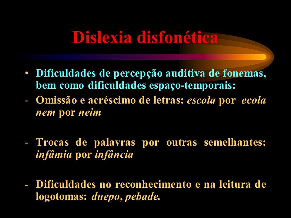 Dislexia disfonética Dificuldades de percepção auditiva de fonemas, bem como dificuldades espaço-temporais: -Omissão e acréscimo de letras: escola por