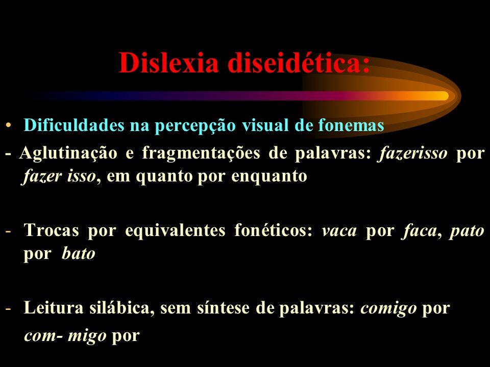Dislexia diseidética: Dificuldades na percepção visual de fonemas - Aglutinação e fragmentações de palavras: fazerisso por fazer isso, em quanto por e