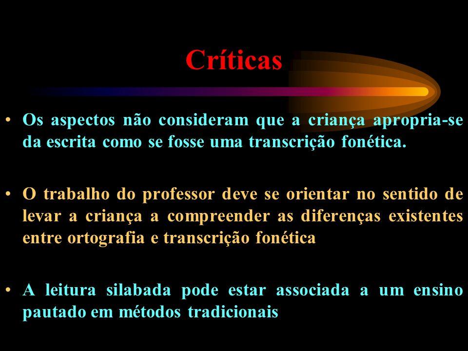 Críticas Os aspectos não consideram que a criança apropria-se da escrita como se fosse uma transcrição fonética. O trabalho do professor deve se orien