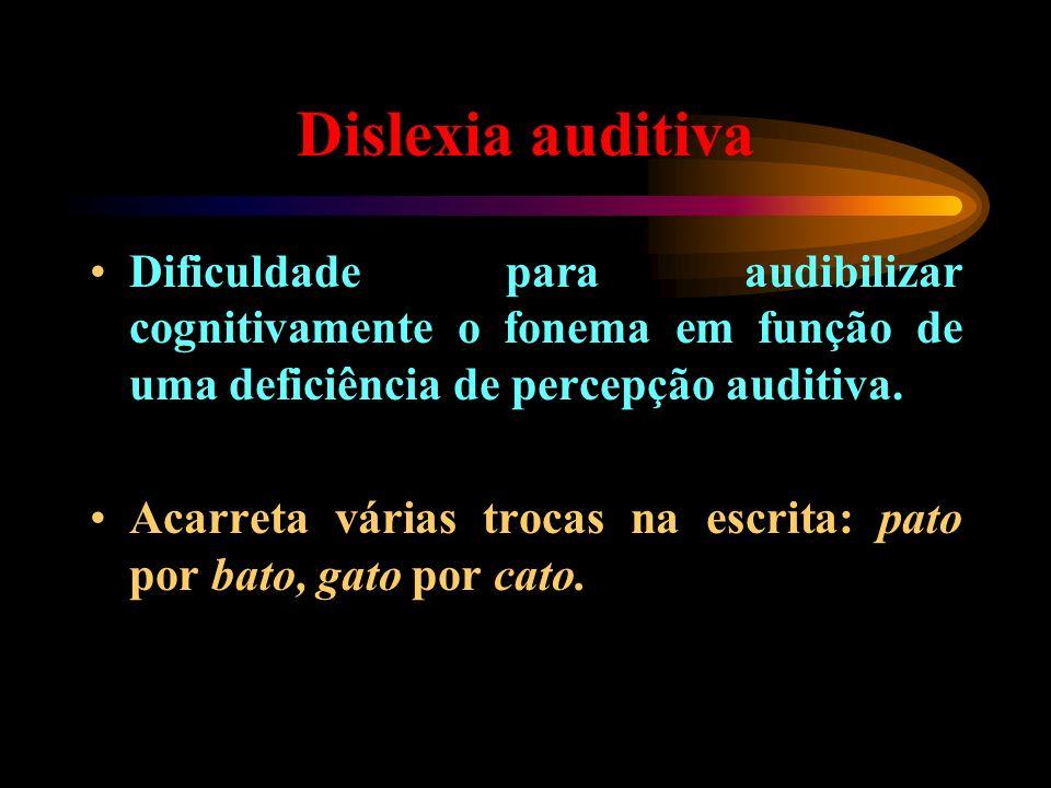 Dislexia auditiva Dificuldade para audibilizar cognitivamente o fonema em função de uma deficiência de percepção auditiva. Acarreta várias trocas na e