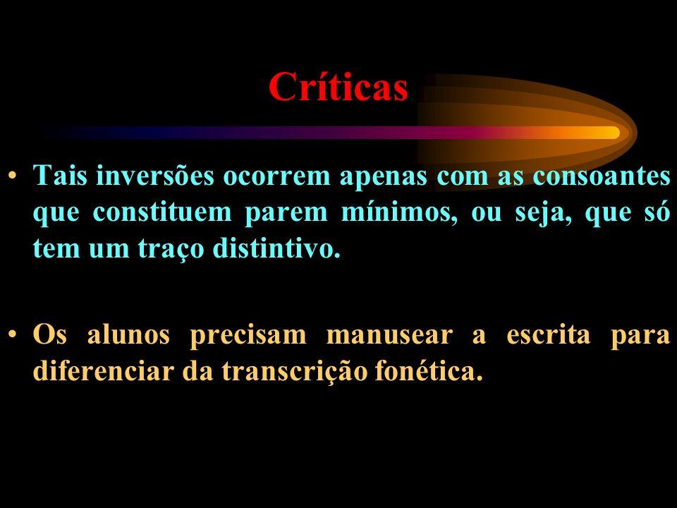 Críticas Tais inversões ocorrem apenas com as consoantes que constituem parem mínimos, ou seja, que só tem um traço distintivo. Os alunos precisam man