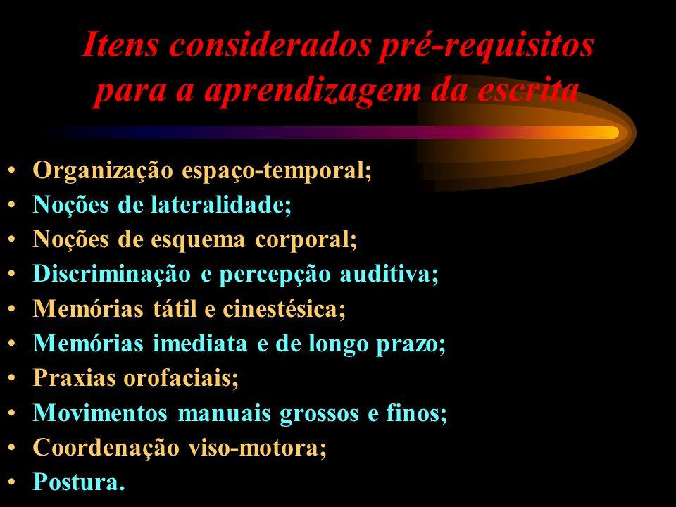 Itens considerados pré-requisitos para a aprendizagem da escrita Organização espaço-temporal; Noções de lateralidade; Noções de esquema corporal; Disc