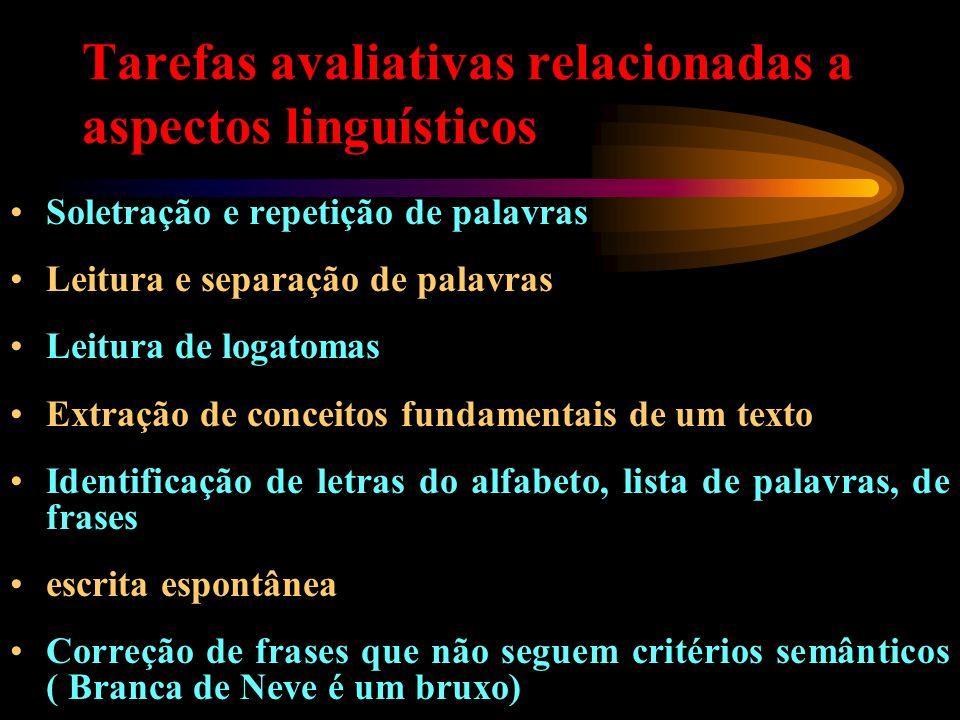 Tarefas avaliativas relacionadas a aspectos linguísticos Soletração e repetição de palavras Leitura e separação de palavras Leitura de logatomas Extra