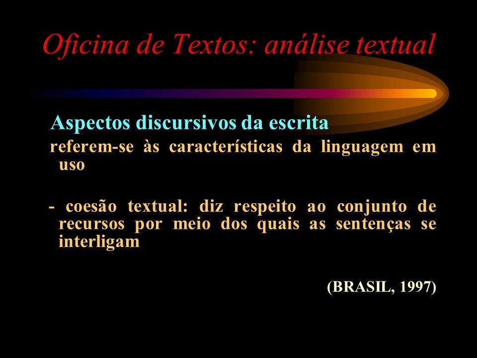 Oficina de Textos: análise textual Aspectos discursivos da escrita referem-se às características da linguagem em uso - coesão textual: diz respeito ao