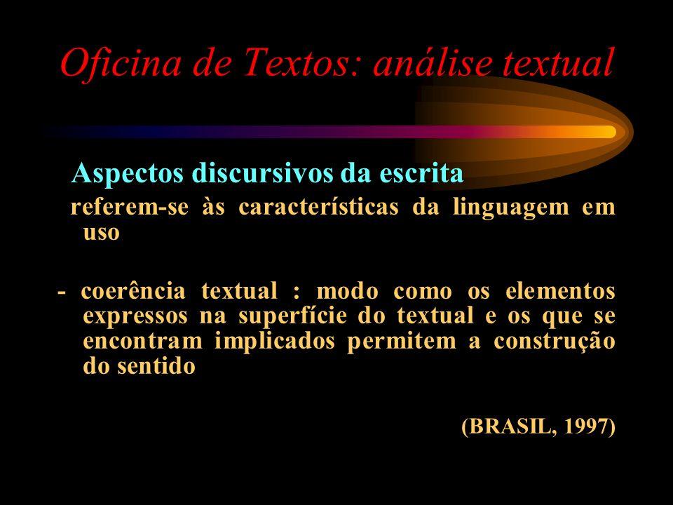Oficina de Textos: análise textual Aspectos discursivos da escrita referem-se às características da linguagem em uso - coerência textual : modo como o