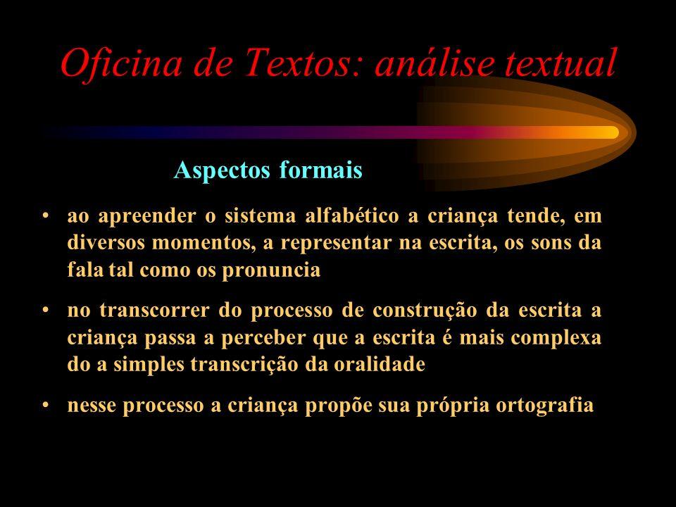 Oficina de Textos: análise textual Aspectos formais ao apreender o sistema alfabético a criança tende, em diversos momentos, a representar na escrita,