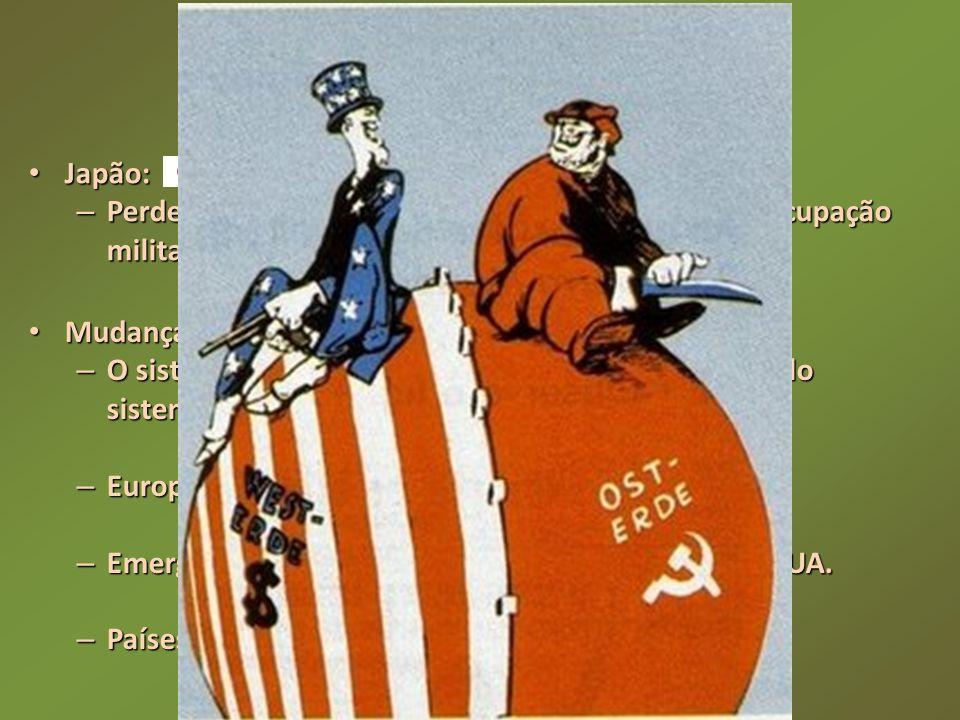 Japão: Japão: – Perdeu territórios no continente asiático e sofreu ocupação militar norte-americana. Mudanças geopolíticas ao término da guerra: Mudan