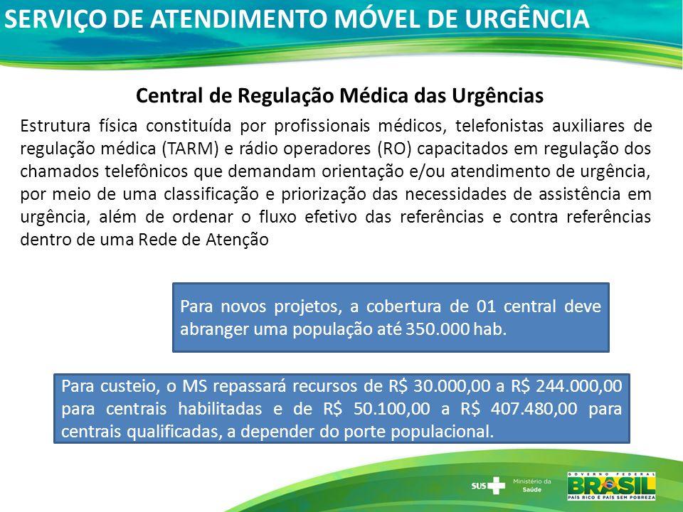 Central de Regulação Médica das Urgências Estrutura física constituída por profissionais médicos, telefonistas auxiliares de regulação médica (TARM) e