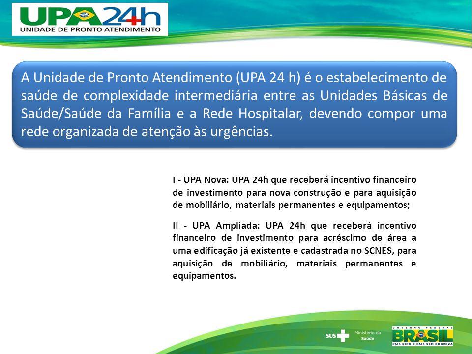 A Unidade de Pronto Atendimento (UPA 24 h) é o estabelecimento de saúde de complexidade intermediária entre as Unidades Básicas de Saúde/Saúde da Famí