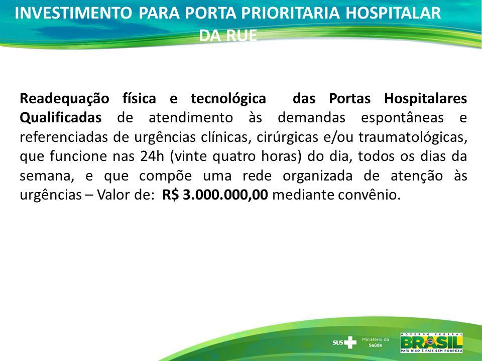 Readequação física e tecnológica das Portas Hospitalares Qualificadas de atendimento às demandas espontâneas e referenciadas de urgências clínicas, ci