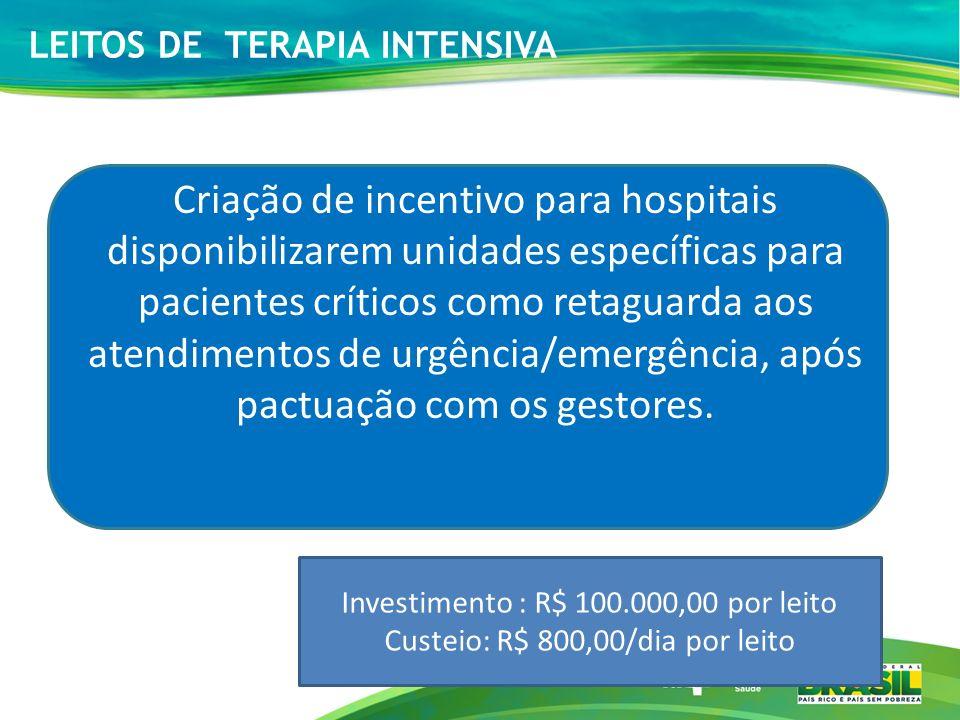 LEITOS DE TERAPIA INTENSIVA Criação de incentivo para hospitais disponibilizarem unidades específicas para pacientes críticos como retaguarda aos aten