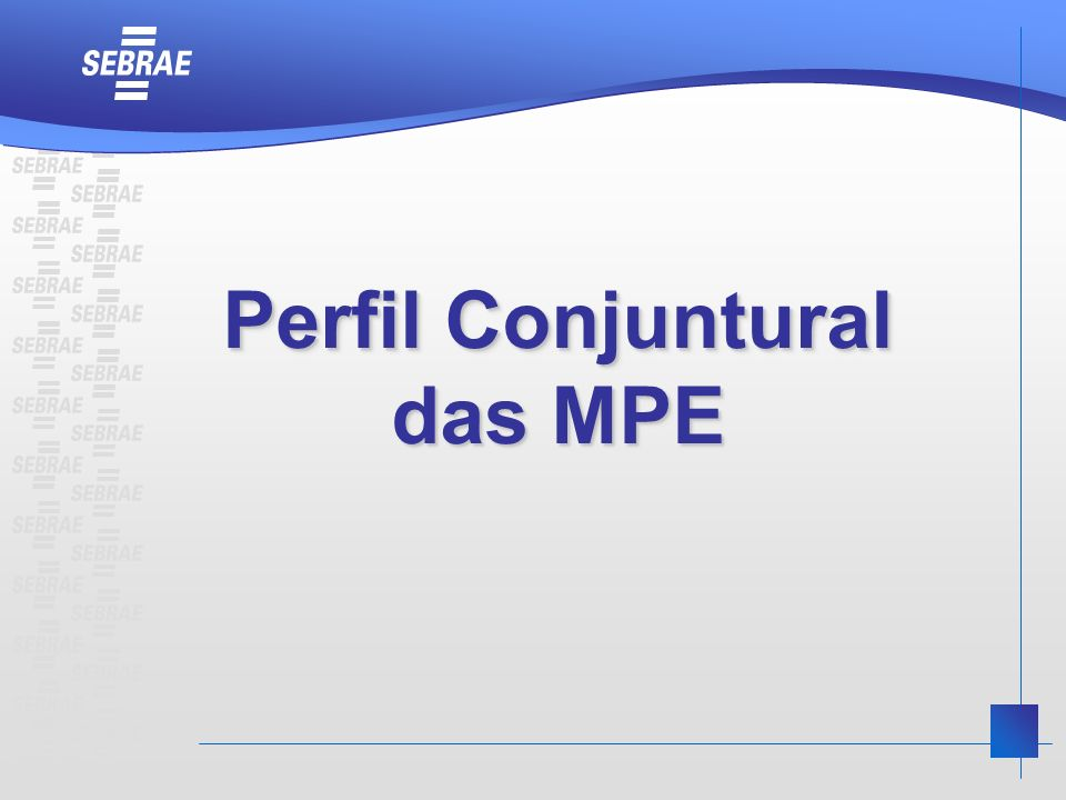 Perfil Conjuntural das MPE Perfil Conjuntural das MPE