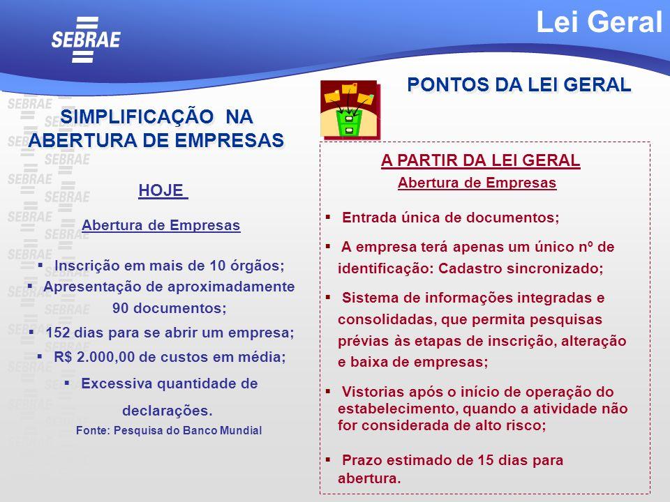 Abertura de Empresas Inscrição em mais de 10 órgãos; Apresentação de aproximadamente 90 documentos; 152 dias para se abrir um empresa; R$ 2.000,00 de