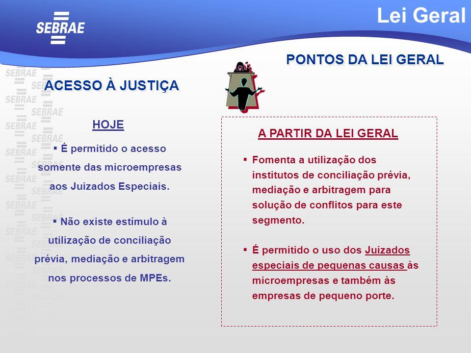 É permitido o acesso somente das microempresas aos Juizados Especiais. Não existe estímulo à utilização de conciliação prévia, mediação e arbitragem n