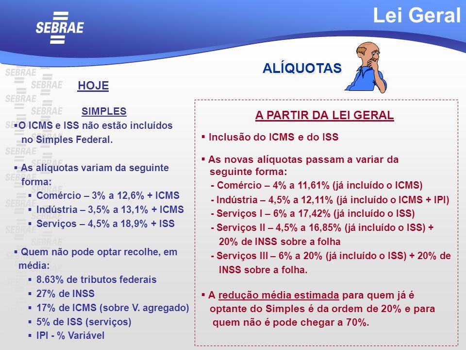 SIMPLES O ICMS e ISS não estão incluídos no Simples Federal. As alíquotas variam da seguinte forma: Comércio – 3% a 12,6% + ICMS Indústria – 3,5% a 13