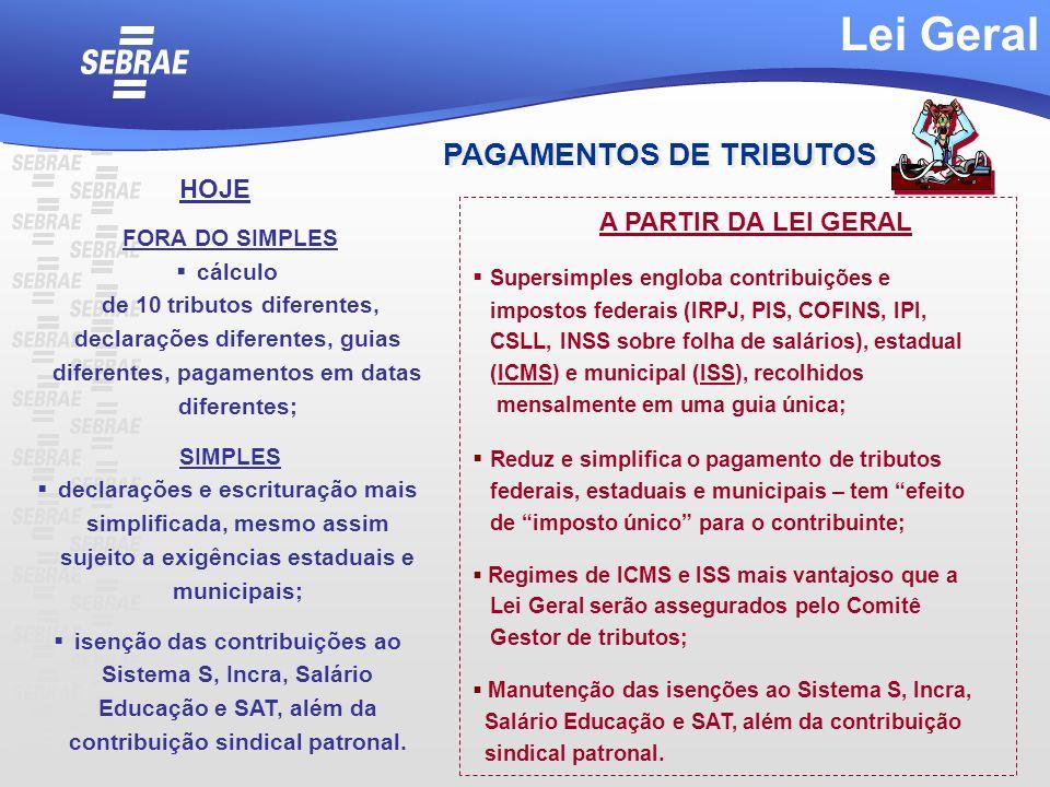 Supersimples engloba contribuições e impostos federais (IRPJ, PIS, COFINS, IPI, CSLL, INSS sobre folha de salários), estadual (ICMS) e municipal (ISS)