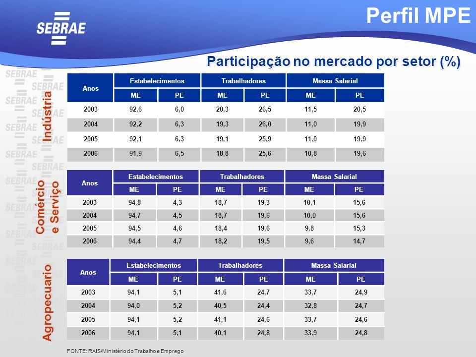 Participação no mercado por setor (%) Anos EstabelecimentosTrabalhadoresMassa Salarial MEPEMEPEMEPE 200392,66,020,326,511,520,5 200492,26,319,326,011,