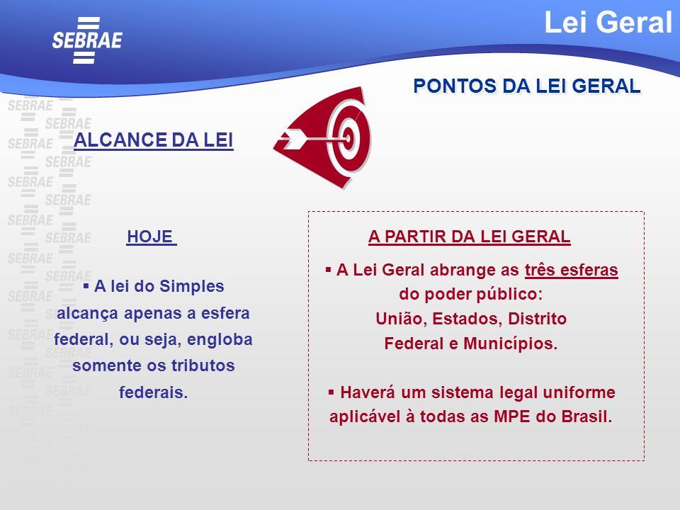 A Lei Geral abrange as três esferas do poder público: União, Estados, Distrito Federal e Municípios. Haverá um sistema legal uniforme aplicável à toda