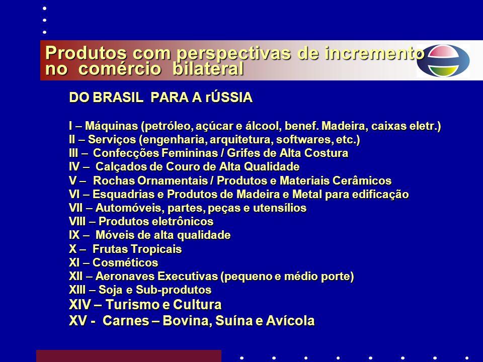 Comércio Exterior entre Brasil e Rússia 2008 ( fonte: SECEX) Total: US$ 7.984.849.038(+ 46,46% sobre 2007)Total: US$ 7.984.849.038 (+ 46,46% sobre 200