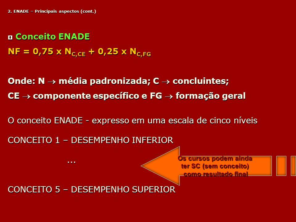 2. ENADE – Principais aspectos (cont.) Conceito ENADE Conceito ENADE NF = 0,75 x N C,CE + 0,25 x N C,FG Onde: N média padronizada; C concluintes; CE c