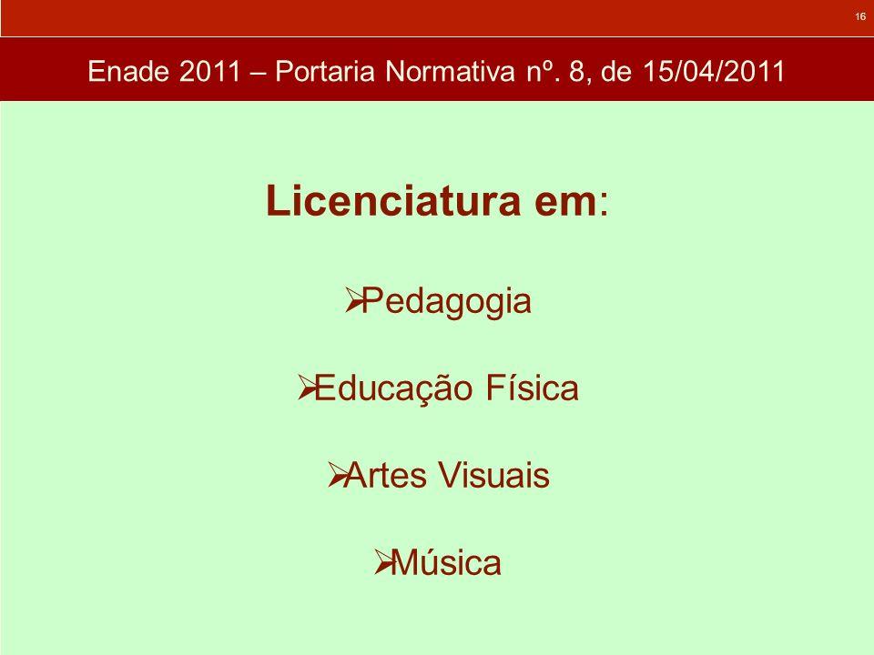 Enade 2011 – Portaria Normativa nº. 8, de 15/04/2011 Licenciatura em: Pedagogia Educação Física Artes Visuais Música 16