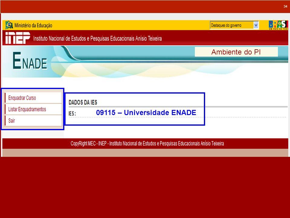 34 Ambiente do PI 09115 – Universidade ENADE
