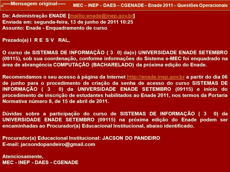 36 MEC – INEP – DAES – CGENADE – Enade 2011 – Questões Operacionais -----Mensagem original----- De: Administração ENADE [mailto:enade@inep.gov.br]mail