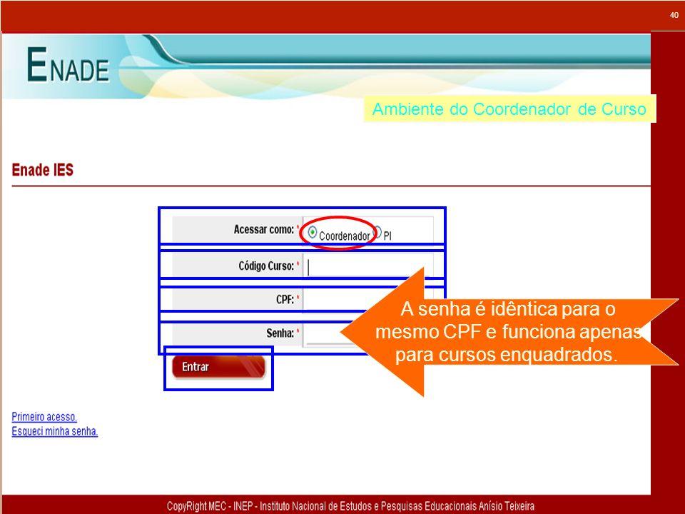 40 Ambiente do Coordenador de Curso A senha é idêntica para o mesmo CPF e funciona apenas para cursos enquadrados.