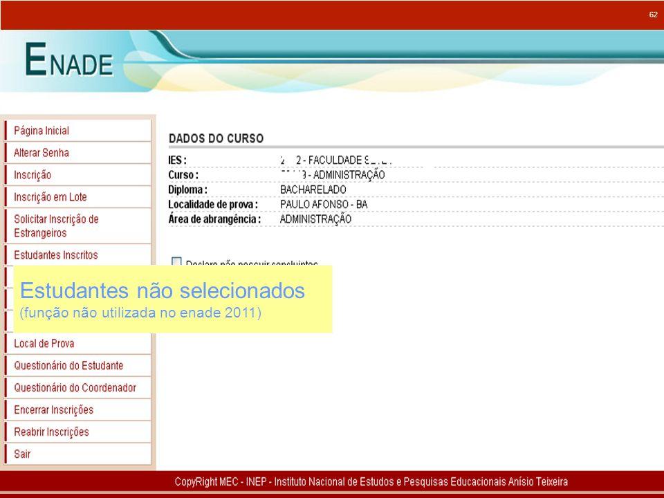 62 Estudantes não selecionados (função não utilizada no enade 2011)