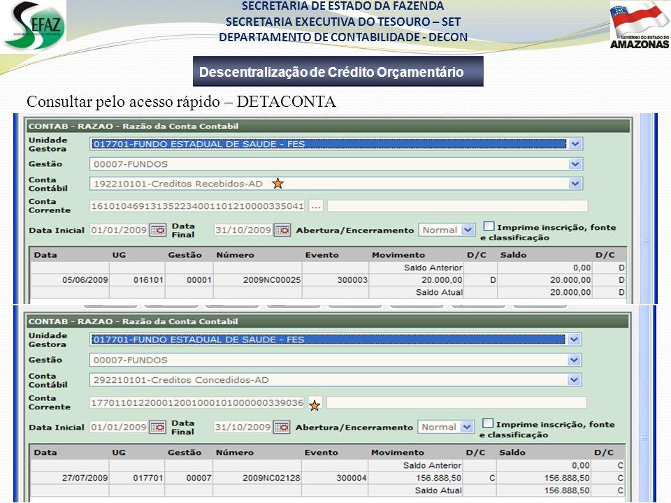 Consultar pelo acesso rápido – DETACONTA Descentralização de Crédito Orçamentário SECRETARIA DE ESTADO DA FAZENDA SECRETARIA EXECUTIVA DO TESOURO – SE