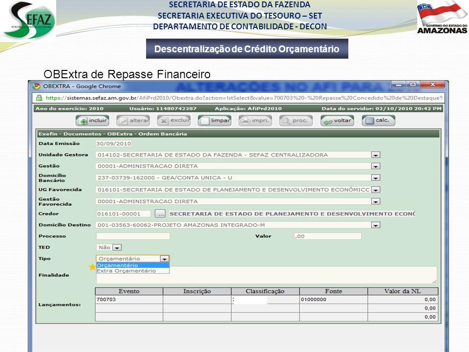 SECRETARIA DE ESTADO DA FAZENDA SECRETARIA EXECUTIVA DO TESOURO – SET DEPARTAMENTO DE CONTABILIDADE - DECON Descentralização de Crédito Orçamentário O