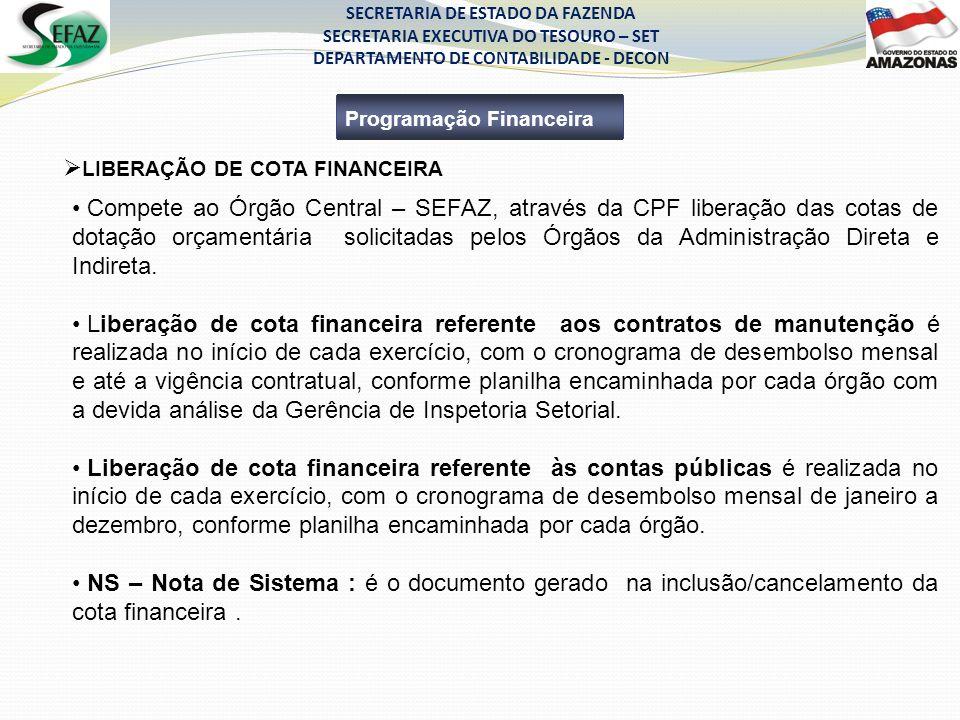 SECRETARIA DE ESTADO DA FAZENDA SECRETARIA EXECUTIVA DO TESOURO – SET DEPARTAMENTO DE CONTABILIDADE - DECON Programação Financeira Compete ao Órgão Ce