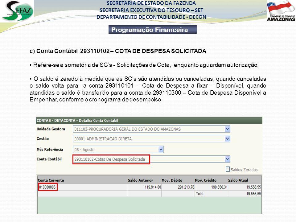 SECRETARIA DE ESTADO DA FAZENDA SECRETARIA EXECUTIVA DO TESOURO – SET DEPARTAMENTO DE CONTABILIDADE - DECON Programação Financeira c) Conta Contábil 2
