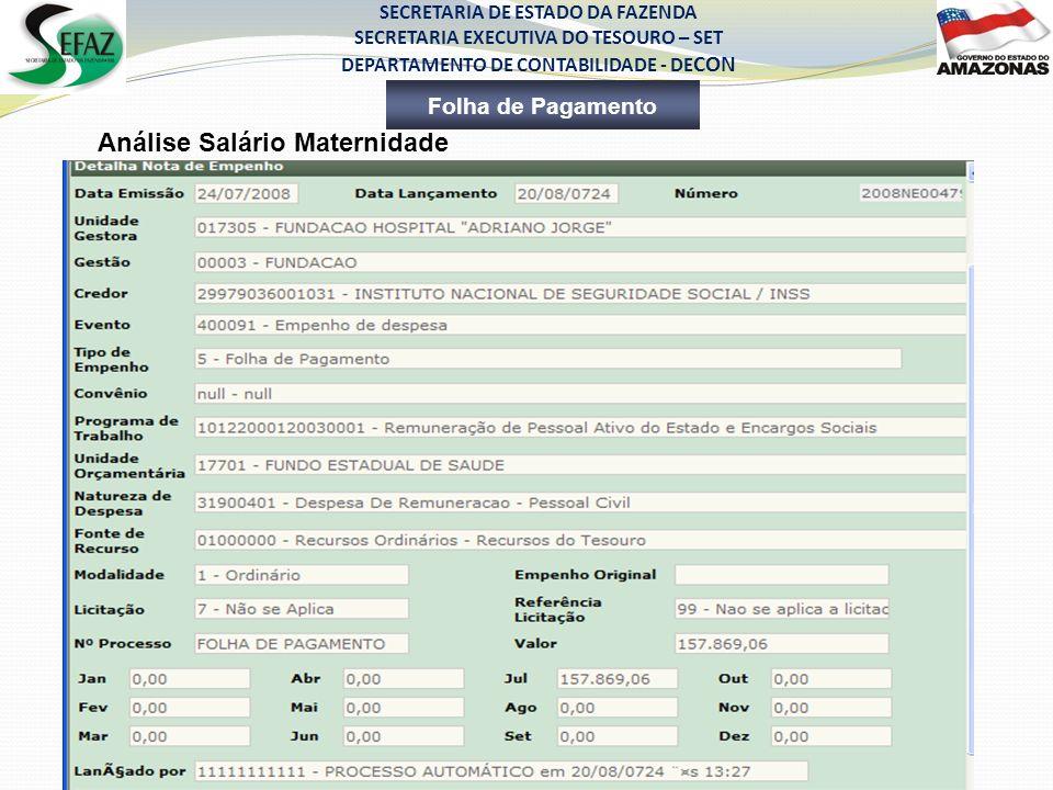 SECRETARIA DE ESTADO DA FAZENDA SECRETARIA EXECUTIVA DO TESOURO – SET DEPARTAMENTO DE CONTABILIDADE - DE CON Folha de Pagamento Análise Salário Matern