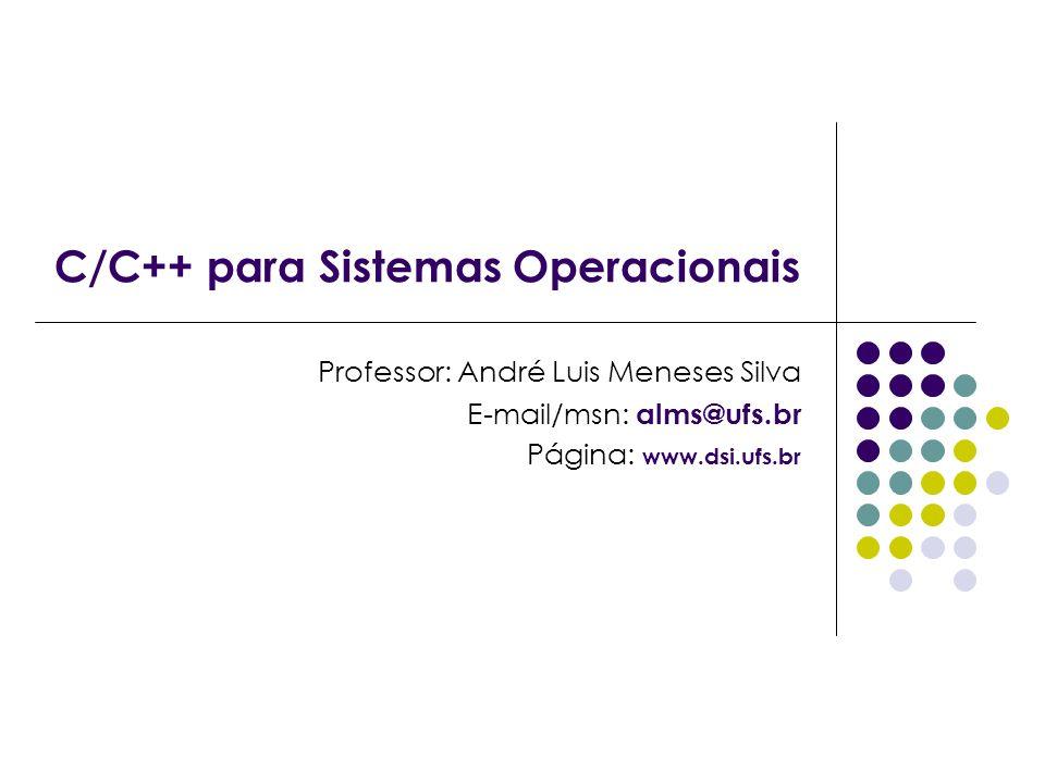 C/C++ para Sistemas Operacionais Professor: André Luis Meneses Silva E-mail/msn: alms@ufs.br Página: www.dsi.ufs.br