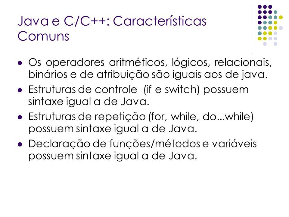 Java e C/C++: Características Comuns Os operadores aritméticos, lógicos, relacionais, binários e de atribuição são iguais aos de java. Estruturas de c