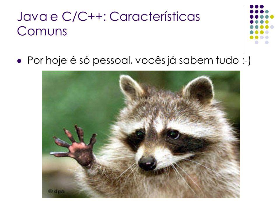 Java e C/C++: Características Comuns Por hoje é só pessoal, vocês já sabem tudo :-)