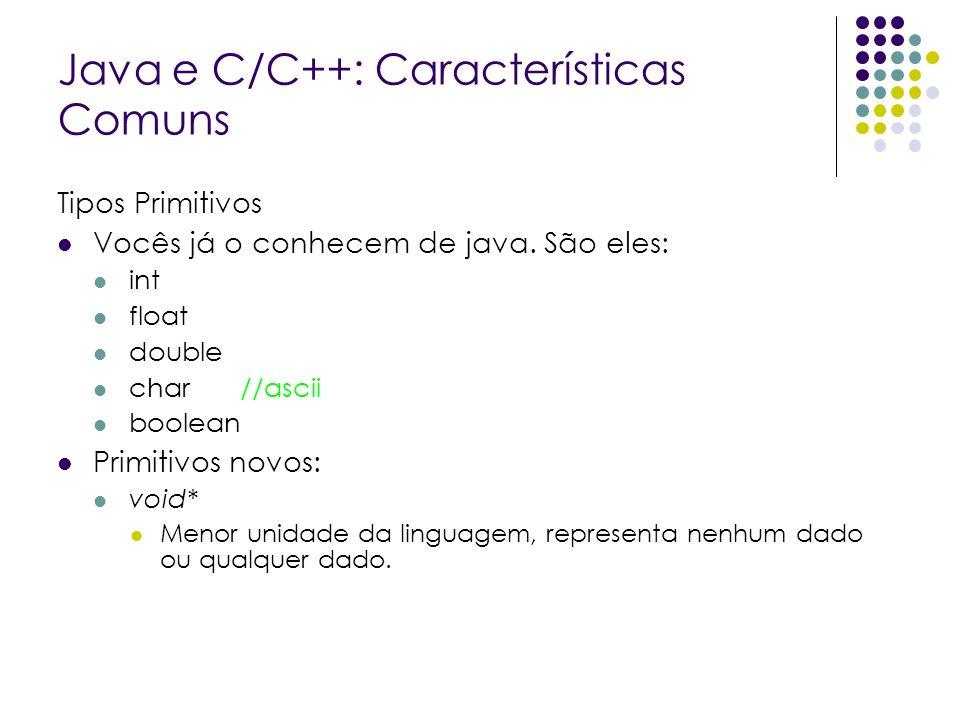 Java e C/C++: Características Comuns Tipos Primitivos Vocês já o conhecem de java. São eles: int float double char //ascii boolean Primitivos novos: v